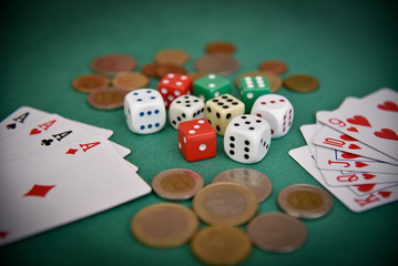 coins dice cards